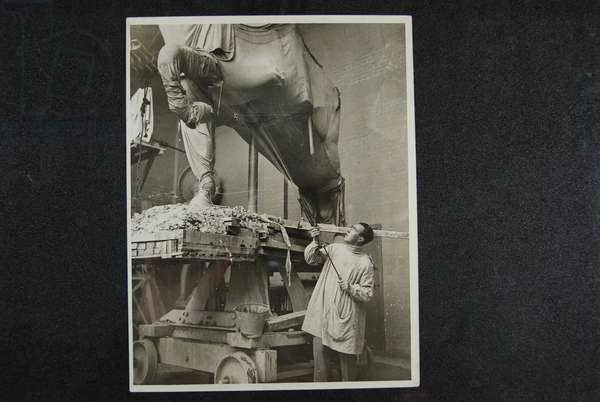 Hardiman working on the Haig Statue, c.1931-32 (b/w photo)