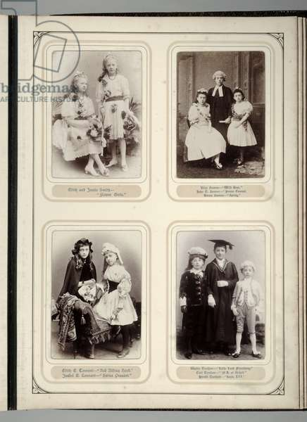 Page from a souvenir album of the Juvenile Fancy Dress Ball, Leeds, 12th January 1891 (b/w photo)