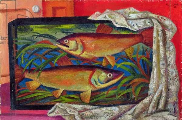 Fish, 1936 (oil on board)
