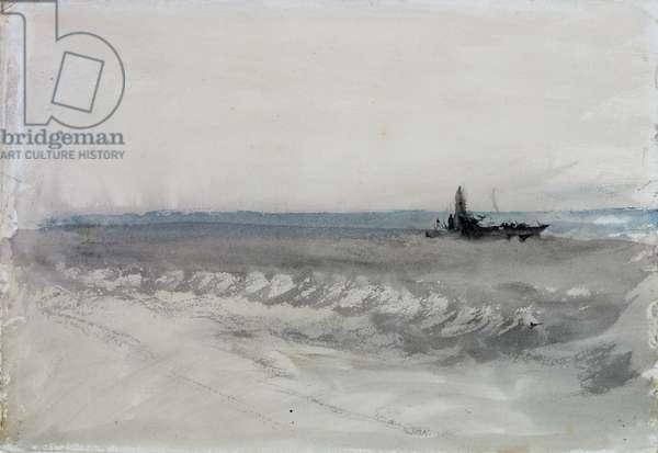 Grey Sea, Boat Running Ashore, c.1840 (w/c on paper)