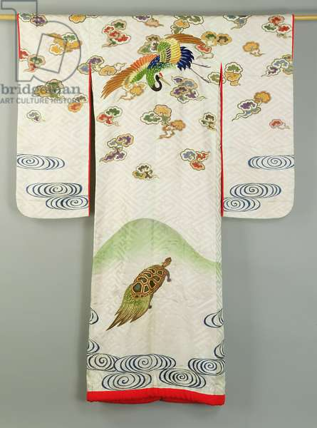 Uchikake wedding robe decorated with a crane and a tortoise, Japanese