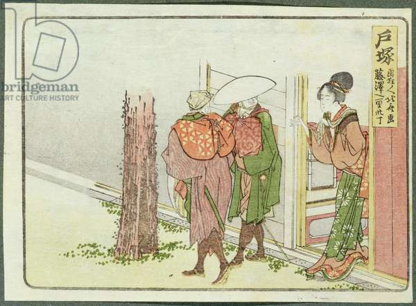 Two Travellers Asking for Directions, Totsuka, Tokaido (woodblock print)
