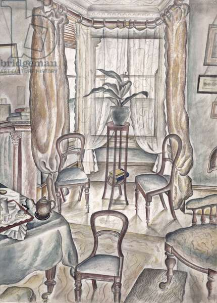 The Sitting Room, Howson Road, 1926 (pen & ink and w/c on paper)