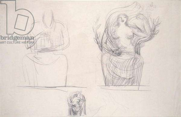 Three Studies for 'Day', 1928 (pencil on paper)