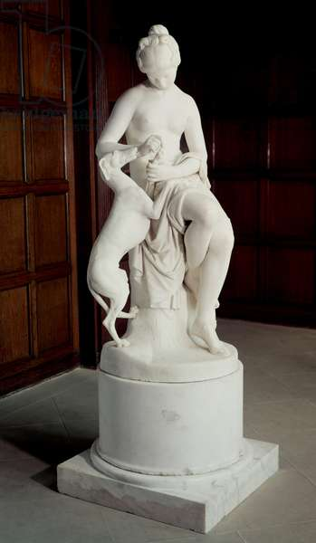 A Nymph taking a Thorn out of a Greyhound's Foot, 1848 (stone sculpture)