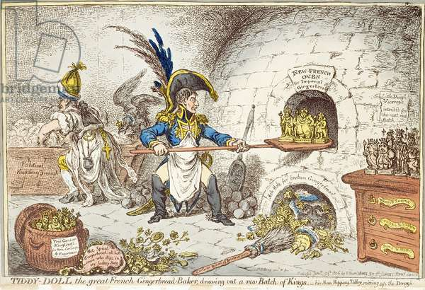 'Tiddy-Doll, the Great French Gingerbread Maker, Drawing Out a New Batch of Kings. His Man, Hopping Talley, Mixing Up the Dough', pub. by Hannah Humphrey, 23rd January 1806 (aquatint)