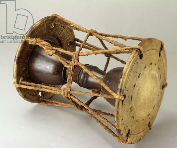 Double drum (O-Tsuzumi) used in performances of the No theatre in Japan, 1880-1900