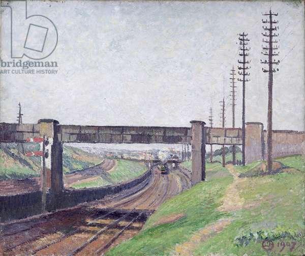 Wells Farm Railway Bridge, Acton, 1907 (oil on canvas)
