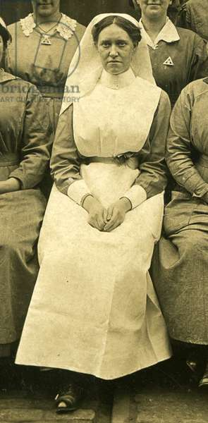Miss Mary Anderson with a group of nurses, Barnbow, Leeds, 1914-18 (b/w photo) (detail of 5917330)