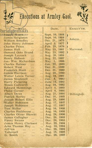 Card listing all the executions undertaken at Armley Gaol, Leeds from 1864 to 1905, with details of the executioner, 1905 (print)