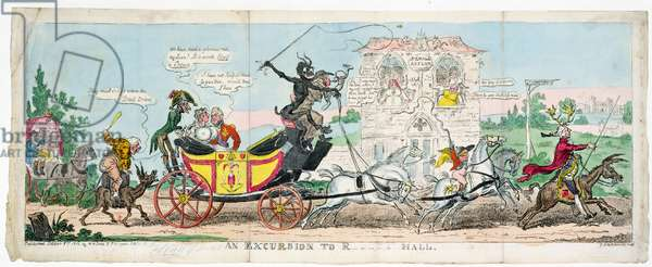 An Excursion into R.... Hall, 1812 (coloured engraving)