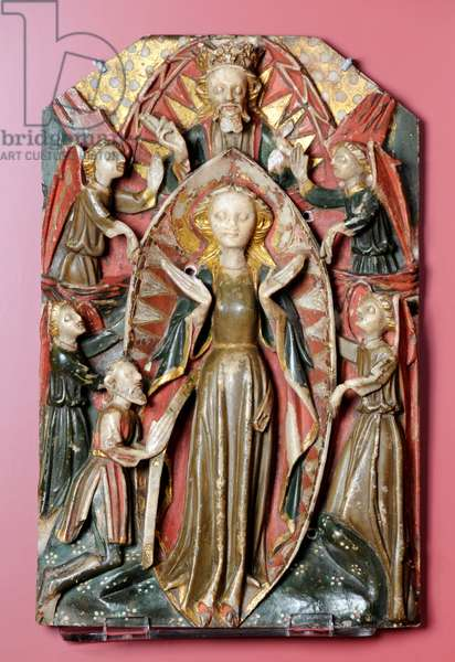 The Assumption of the Virgin Mary with Angels and God the Father, early 15th century (painted alabaster)