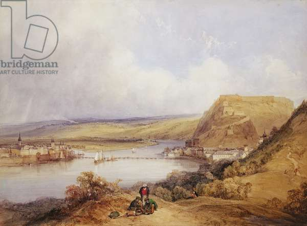 Ehrenbreitstein and Koblenz from the Heights of Pfaffendorf, 1839 (w/c and gouache on paper)