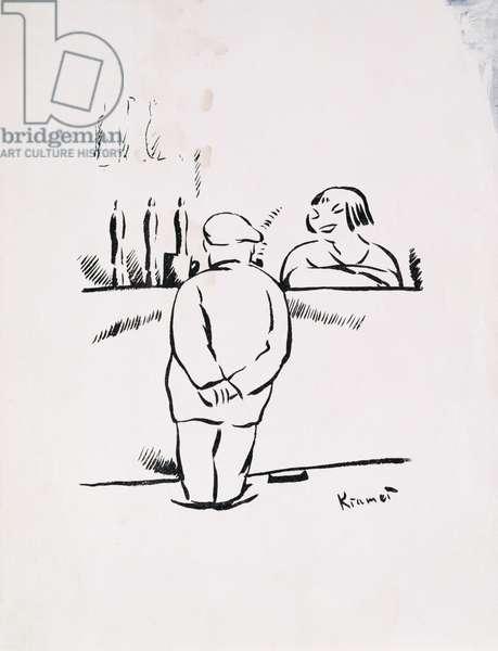 Man Conversing with a Barmaid, 1941 (woodcut)
