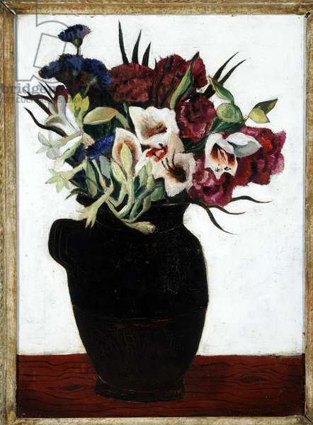 Flowers in a Black Jug (oil on canvas)