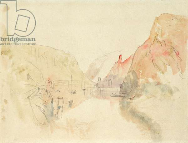 Castle of Traben-Trarbach on the Moselle, c.1844 (pencil and w/c on paper)