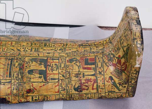 Detail of the lower outer cover of the mummy of Nesyamun, possibly found at Deir El-Bahri, New Kingdom, c.1100 BC (painted wood)