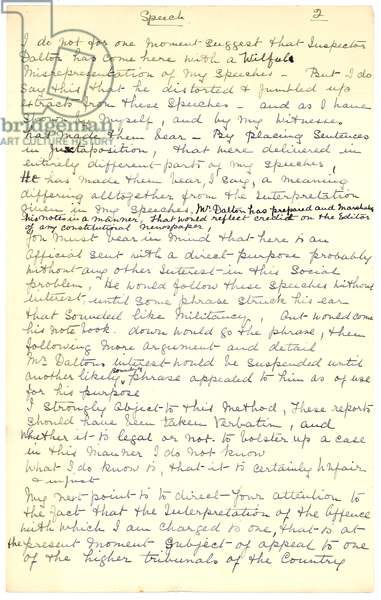 and-written summing-up speech by Mrs. Cohen, May 1913, at her trial under the Malicious Damages Act 1860 and for inciting the public to militancy.  These charges were based upon plain clothes police officers making notes of speeches she gave at meetings on Woodhouse Moor and the Miner's Institute in East Leeds, 1913 (pen & ink on paper)