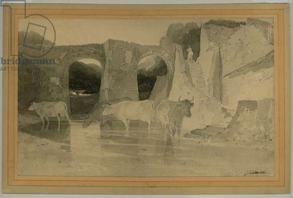 Bridge and Cows, c.1803-04 (pencil with wash on paper)