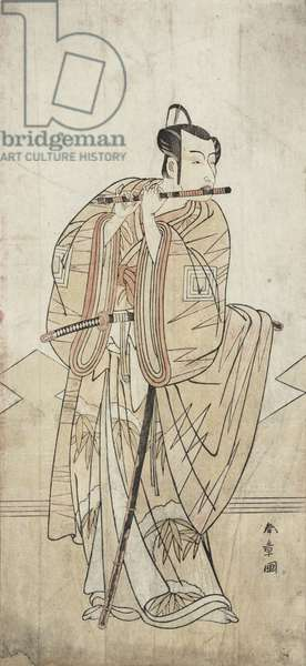An Actor Playing a Flute (woodblock print)
