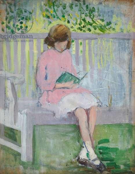 Girl Reading (oil on wood)