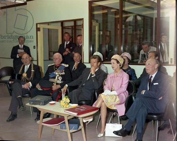 Princess Margaret and entourage, Burton's tailors, England, 1966 (b/w photo)