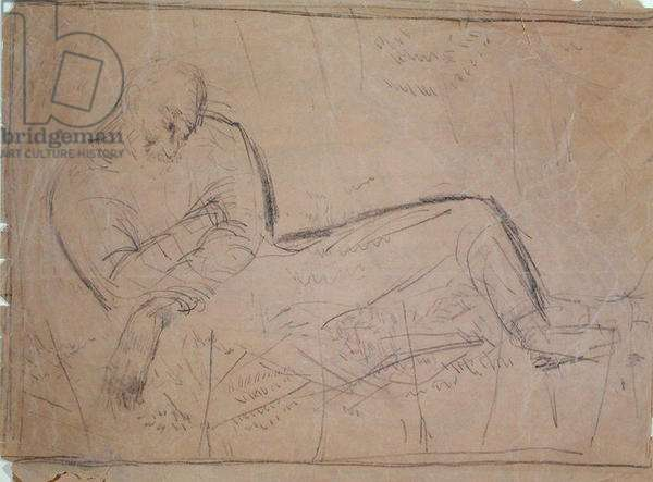 Study for 'Figure of W.H. Hudson' 1923-24 (pencil on paper)