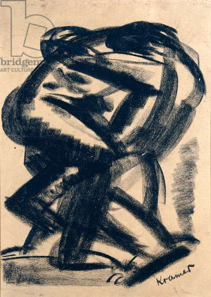 The Wrestlers, 1928 (charcoal on paper)