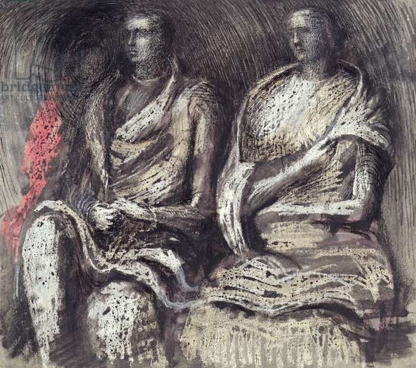 Shelter Scene - Two Seated Figures, 1941 (w/c and crayon and ink on paper)