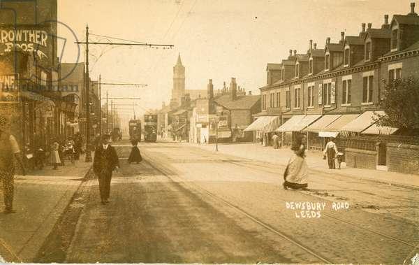 Postcard depicting Dewsbury Road, Leeds, 1907 (b/w photo)