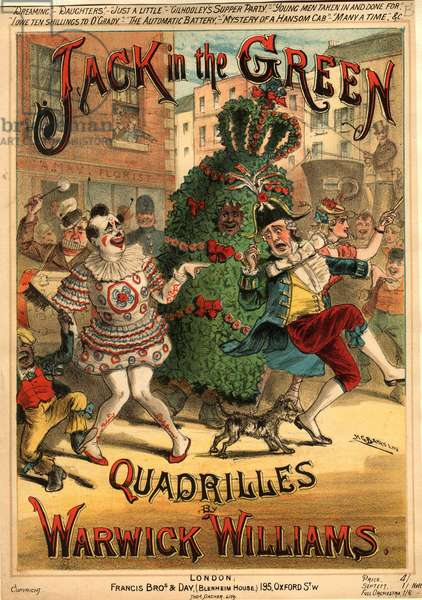 Sheet music for 'Jack in the Green Quadrilles' by Warwick Williams, published by Francis Bros. & Day (colour litho)