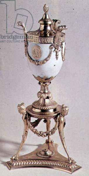 Vase and perfume burner by Boulton and Fothergill, c.1777-78 (white marble and ormolu)