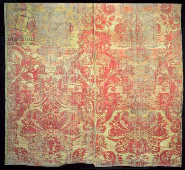 Woven silk and linen sample, early 18th century (silk and linen)