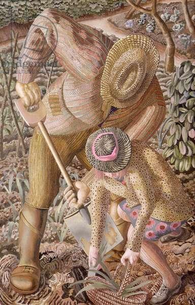 Gardening, c.1945 (oil on canvas)