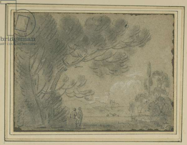 View under a Stone Pine (chalk with white heightening on paper)