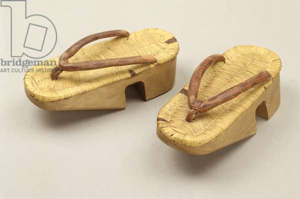 Boy's geta sandals (wood & leather)