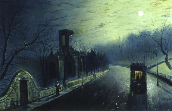 Kirkstall Abbey by Moonlight (oil on canvas)