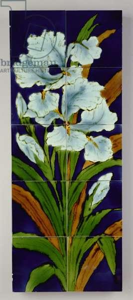 Iris panel, Burmantofts Pottery, c.1905 (hand-painted ceramic)