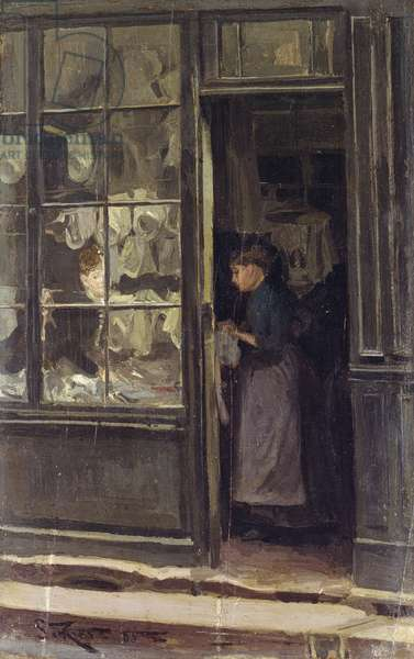 The Laundry Shop, 1885 (oil on panel)