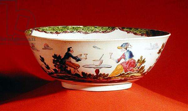 Bowl, decorated in Leeds with punch drinkers, c.1770 (creamware)