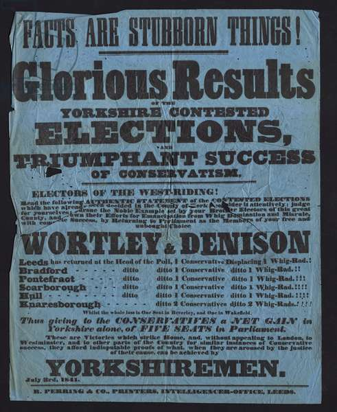 Poster celebrating victory of Conservative candidates in parliamentary elections in Yorkshire, 1841 (print)