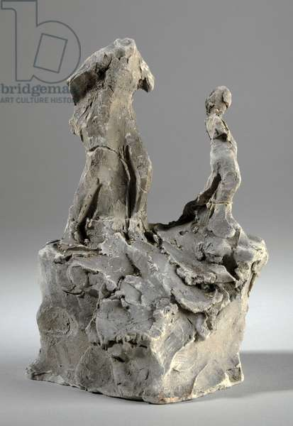 Maquette for two standing figures (clay)