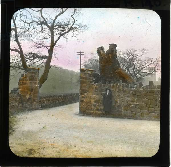 Vesper Gate, Kirkstall Abbey, c.1920-29 (tinted photo)