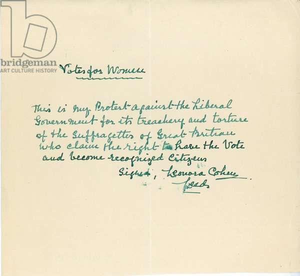 "Hand-written note, ""Votes for Women', c.1913 (pen & ink on paper)"