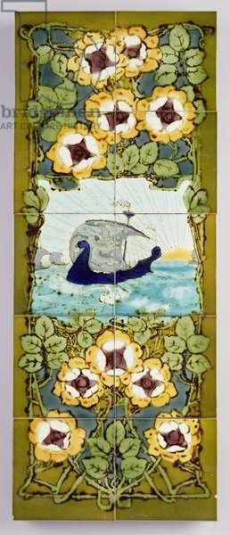 Viking panel, Burmantofts Pottery, c.1905 (hand-painted ceramic)