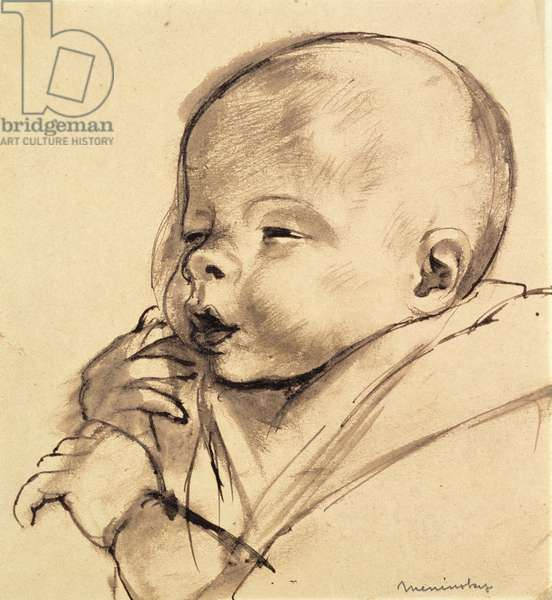 A Baby (pen & ink wash on paper)