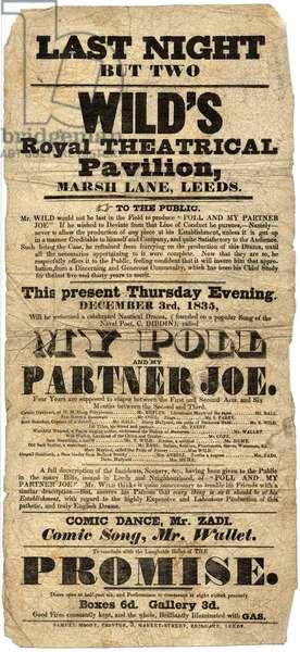 "Handbill for ""My Poll and My Partner Joe"", Wild's Royal Theatrical Pavilion, Marsh Lane, Leeds, Dec. 3rd 1835 (print)"