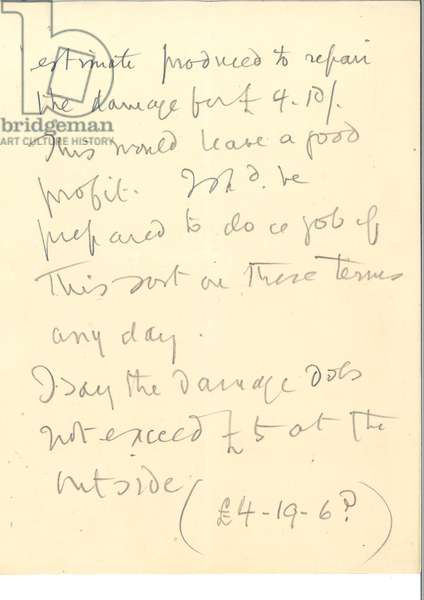 Page 3 of the testimony of J.A. Rinumens of 7-8 Great Winchester Street, assessing the damage done to the jewel case in the Tower of London by Mrs Leonora Cohen, Leeds Suffragette, on 1st February 1913 (pencil on paper)
