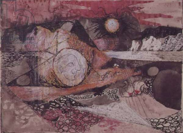 Red Foreshore with Figures, 1943 (pen and ink with w/c on glass)