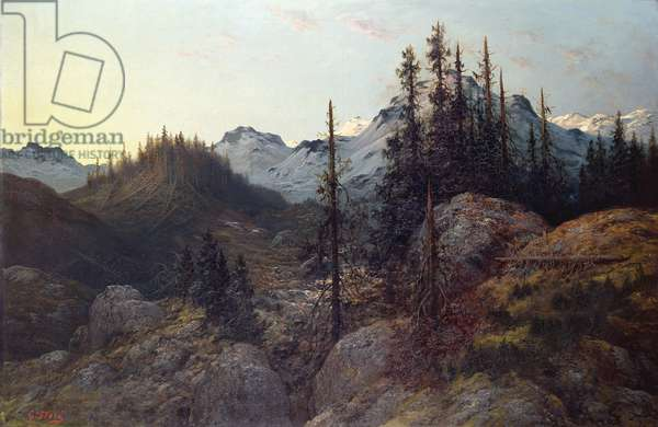 Sunrise in the Alps (oil on canvas)